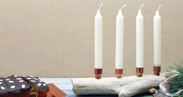 adventkranz selber machen mit kupfer und treibholz. Black Bedroom Furniture Sets. Home Design Ideas