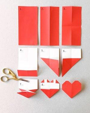 lesezeichen basteln anleitung f r ein origami herz. Black Bedroom Furniture Sets. Home Design Ideas