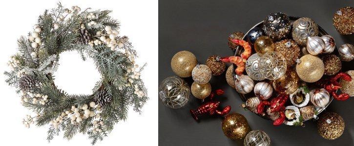 Einen Adventskranz kann man mit Weihnachtsschmuck schnell aufhübschen.
