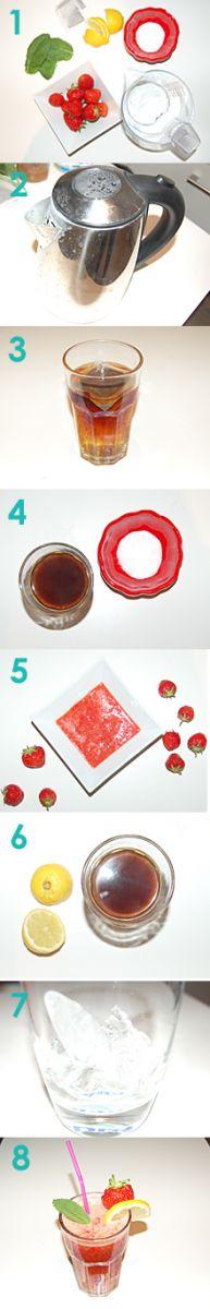 Eistee Rezept zum selber machen. Der Erdbeer Eistee.