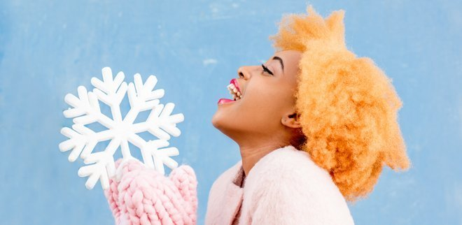 Frau mit Schneeflocke