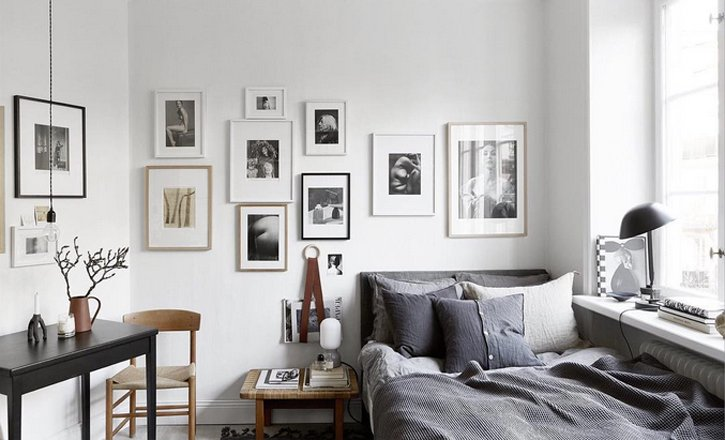 Gallery Wall im Schlafzimmer