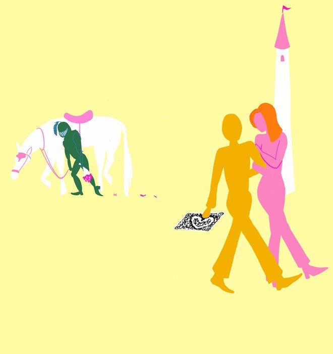 Illustration: Holder Ritter mit weissem Pferd und Frau geht mit QR-Scanner davon