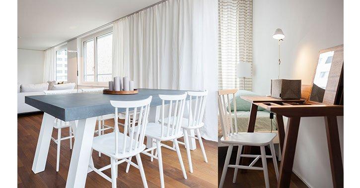 Kleine Wohnungen wirken grösser mit hellen Möbeln; Tipp verwenden sie immer den gleichen Stuhltype, zum Beispiel den Micasa Citti Stuhl.