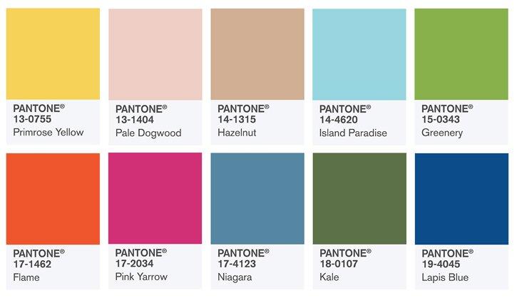 Die neuen Trendfarben 2017 von Pantone.