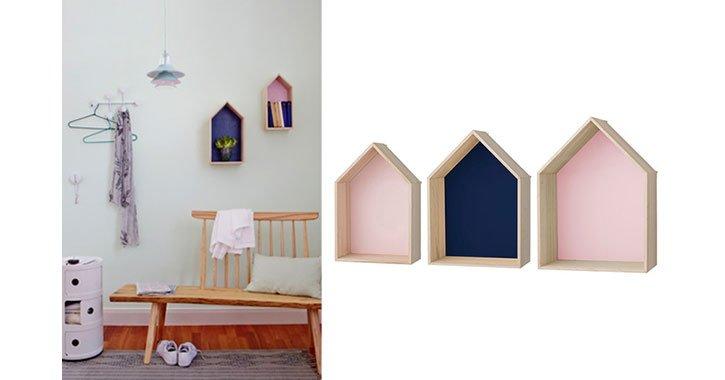 Das Wandregal Houses von Bloomingville ist nicht nur dekorativ, sondern nützlich für allerlei Kleinod.