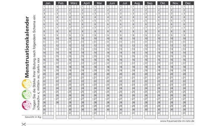 Zykluskalender Beispiel