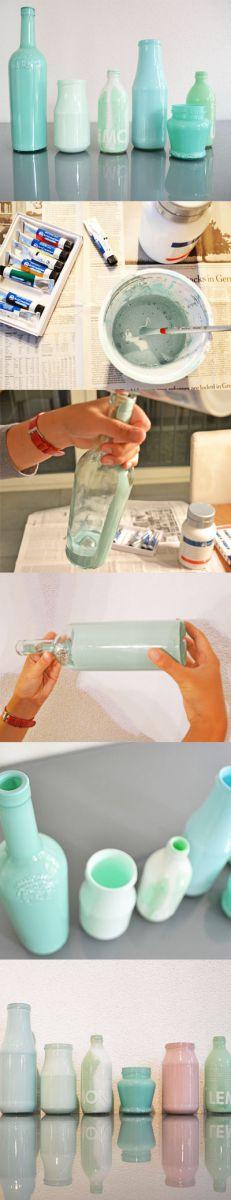 vasen selber machen mit acrylfarbe alte flaschen und. Black Bedroom Furniture Sets. Home Design Ideas