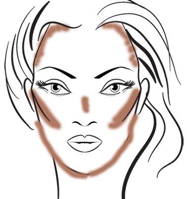 An welchen Stellen man Bronzer aufträgt: Haarlinie, Wangenknochen, Kieferlinie, Nase, Kinn.