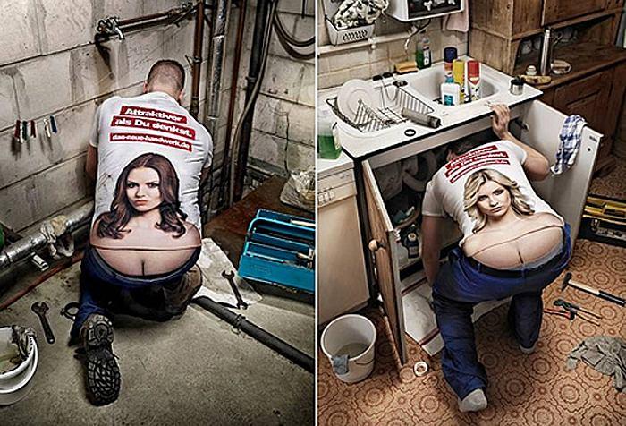 Modesunden Bauarbeiter Dekollete