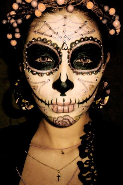 halloween outfit ideen sugar skull make up. Black Bedroom Furniture Sets. Home Design Ideas