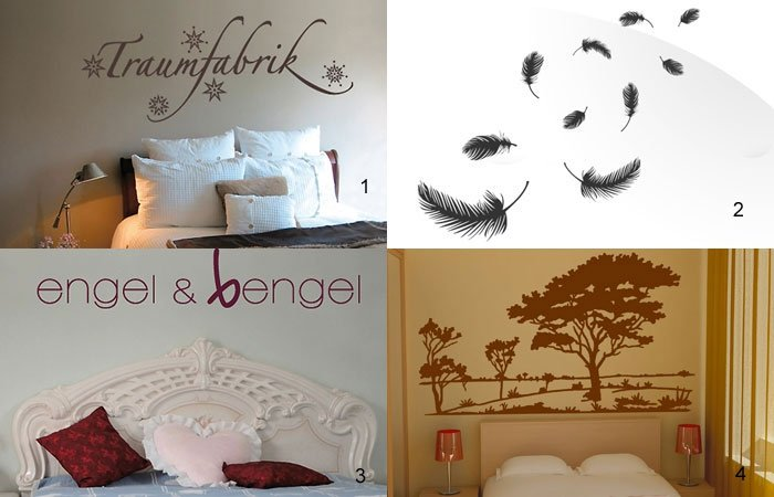 dekoideen f r schlafzimmer wandtattoos. Black Bedroom Furniture Sets. Home Design Ideas