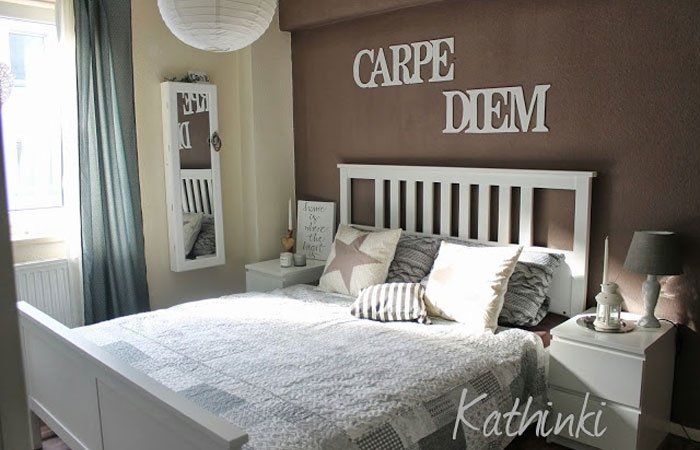 dekoideen f r schlafzimmer carpe diem schriftzug. Black Bedroom Furniture Sets. Home Design Ideas