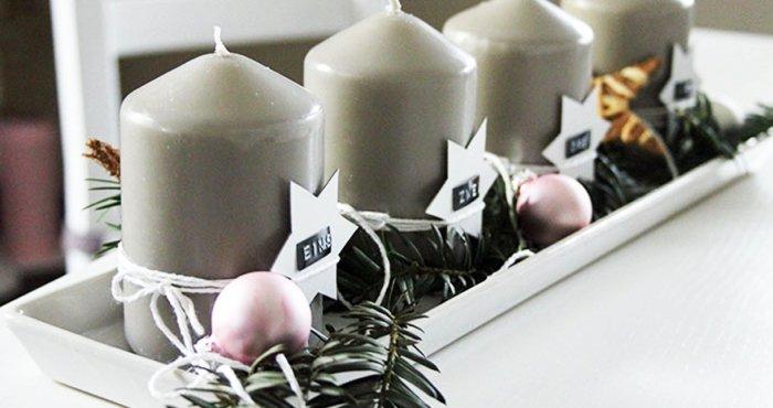 adventkranz blitzschnell selber machen adventgesteck in der deko schale. Black Bedroom Furniture Sets. Home Design Ideas