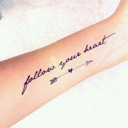 Tattoo Schriften Follow Your Heart Plus Pfeil