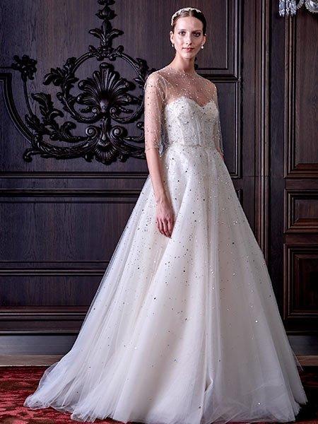 Hochzeitskleider 2016: Tüllkleid mit brilliantenbesetztem Cape von ...