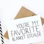 Valentinstag-Sprüche: You're my favourite blanket stealer