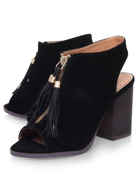 offene mule boots mit fransen von miss kg. Black Bedroom Furniture Sets. Home Design Ideas