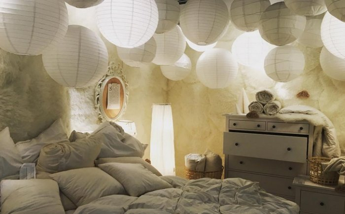 schlafzimmer ideen lampionhimmel. Black Bedroom Furniture Sets. Home Design Ideas