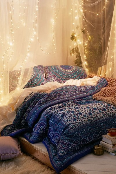 schlafzimmer-ideen: lichterketten, Deko ideen