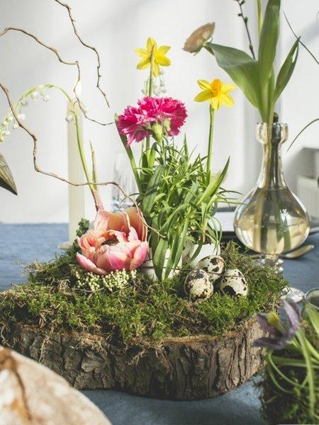 Blumendeko Fruhling Baumstamm Etagere Fur Den Tisch